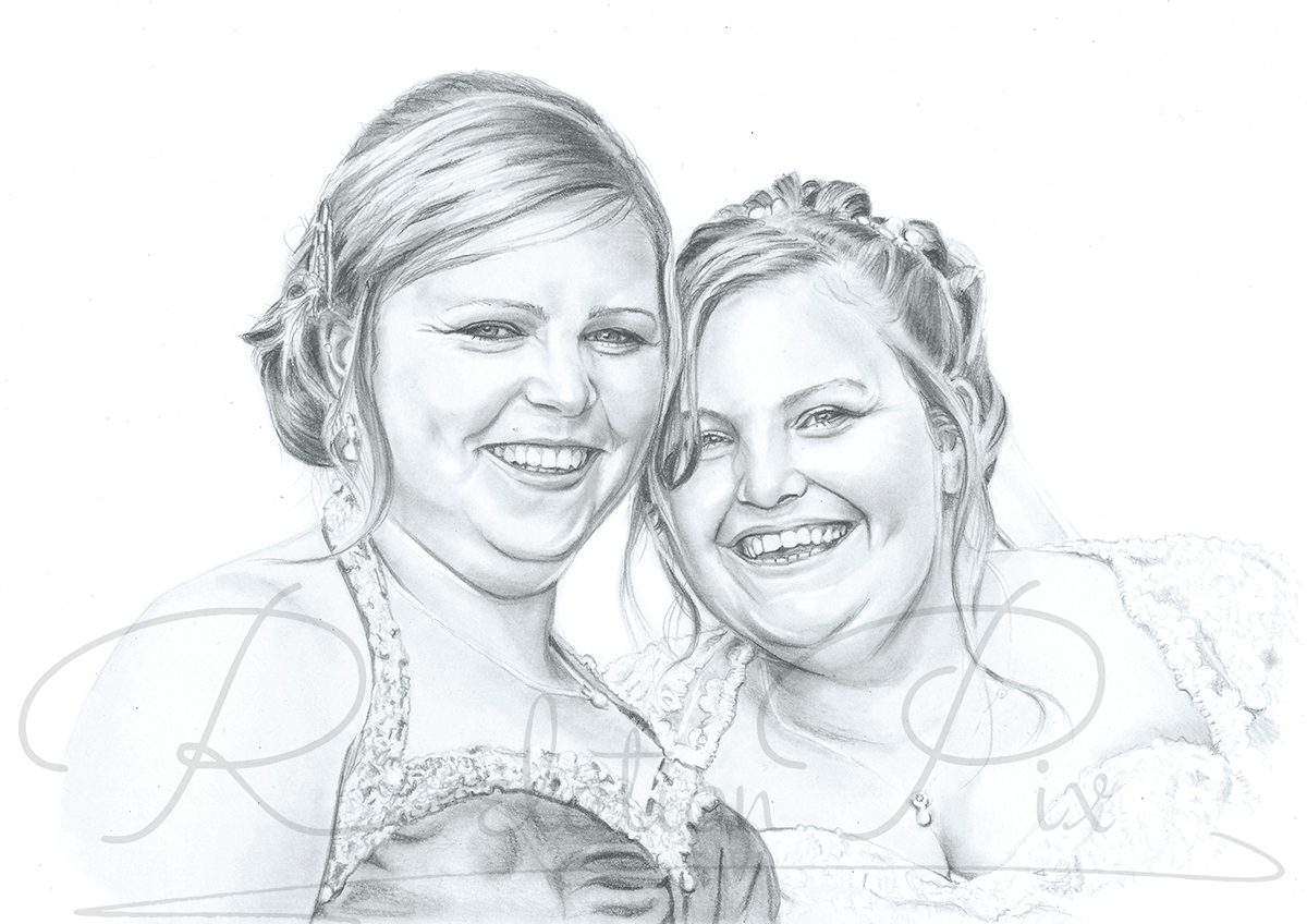 First wedding anniversary paper pencil portrait