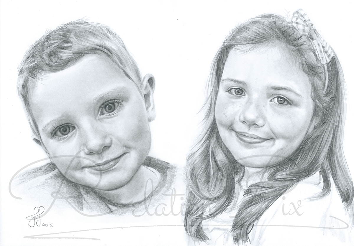 Birthday pencil portrait drawing present for mum