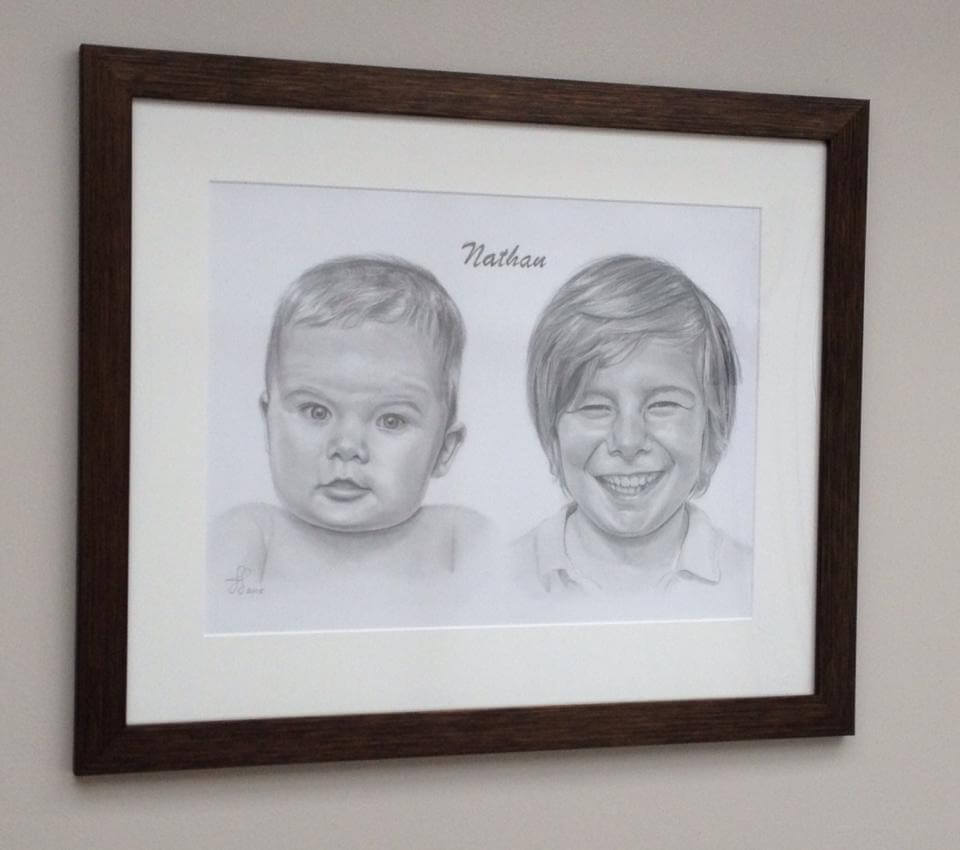 Framed hand drawn unique gift